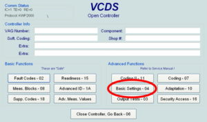 Volkswagen DQ250 02E DSG VCDS 04-Basic Setting